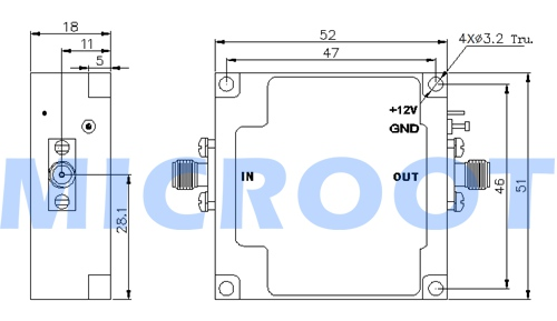 Hybrid Coupler Outline Drawing